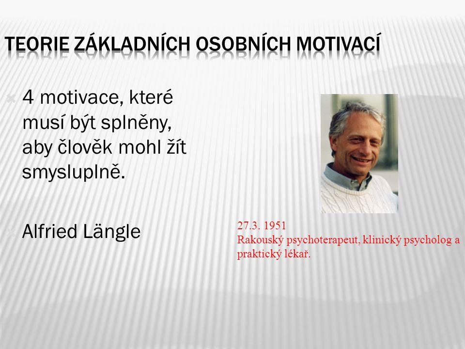  4 motivace, které musí být splněny, aby člověk mohl žít smysluplně.  Alfried Längle 27.3. 1951 Rakouský psychoterapeut, klinický psycholog a prakti