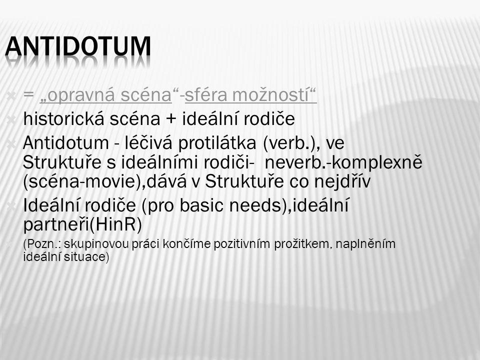 """ = """"opravná scéna -sféra možností  historická scéna + ideální rodiče  Antidotum - léčivá protilátka (verb.), ve Struktuře s ideálními rodiči- neverb.-komplexně (scéna-movie),dává v Struktuře co nejdřív  Ideální rodiče (pro basic needs),ideální partneři(HinR)  (Pozn.: skupinovou práci končíme pozitivním prožitkem, naplněním ideální situace)"""