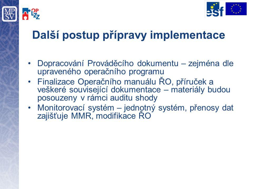 Další postup přípravy implementace Dopracování Prováděcího dokumentu – zejména dle upraveného operačního programu Finalizace Operačního manuálu ŘO, př