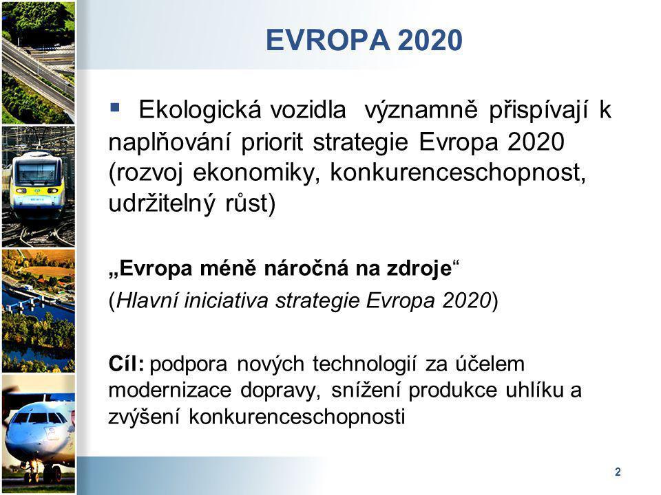"""2 EVROPA 2020  Ekologická vozidla významně přispívají k naplňování priorit strategie Evropa 2020 (rozvoj ekonomiky, konkurenceschopnost, udržitelný růst) """"Evropa méně náročná na zdroje (Hlavní iniciativa strategie Evropa 2020) Cíl: podpora nových technologií za účelem modernizace dopravy, snížení produkce uhlíku a zvýšení konkurenceschopnosti"""