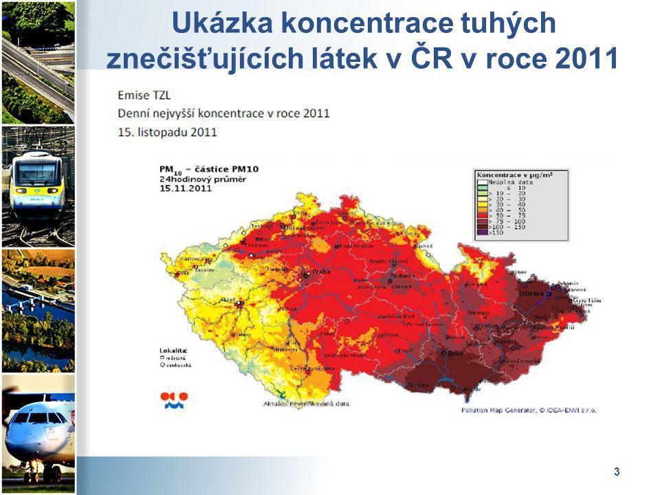 3 Ukázka koncentrace tuhých znečišťujících látek v ČR v roce 2011