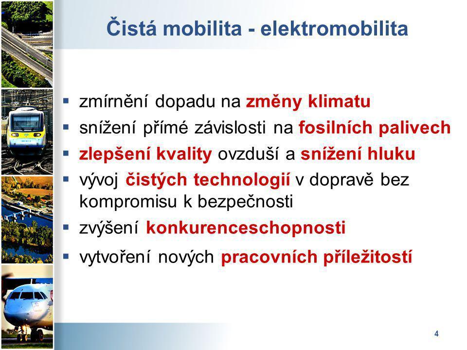 4 Čistá mobilita - elektromobilita  zmírnění dopadu na změny klimatu  snížení přímé závislosti na fosilních palivech  zlepšení kvality ovzduší a snížení hluku  vývoj čistých technologií v dopravě bez kompromisu k bezpečnosti  zvýšení konkurenceschopnosti  vytvoření nových pracovních příležitostí
