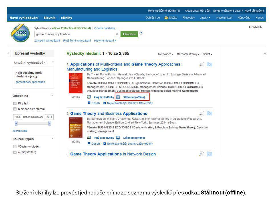 Stažení eKnihy lze provést jednoduše přímo ze seznamu výsledků přes odkaz Stáhnout (offline).