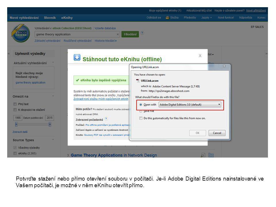 Jakmile je eKniha stažena, aplikace Adobe Digital Editions ji automaticky po importu otevře na titulní straně.