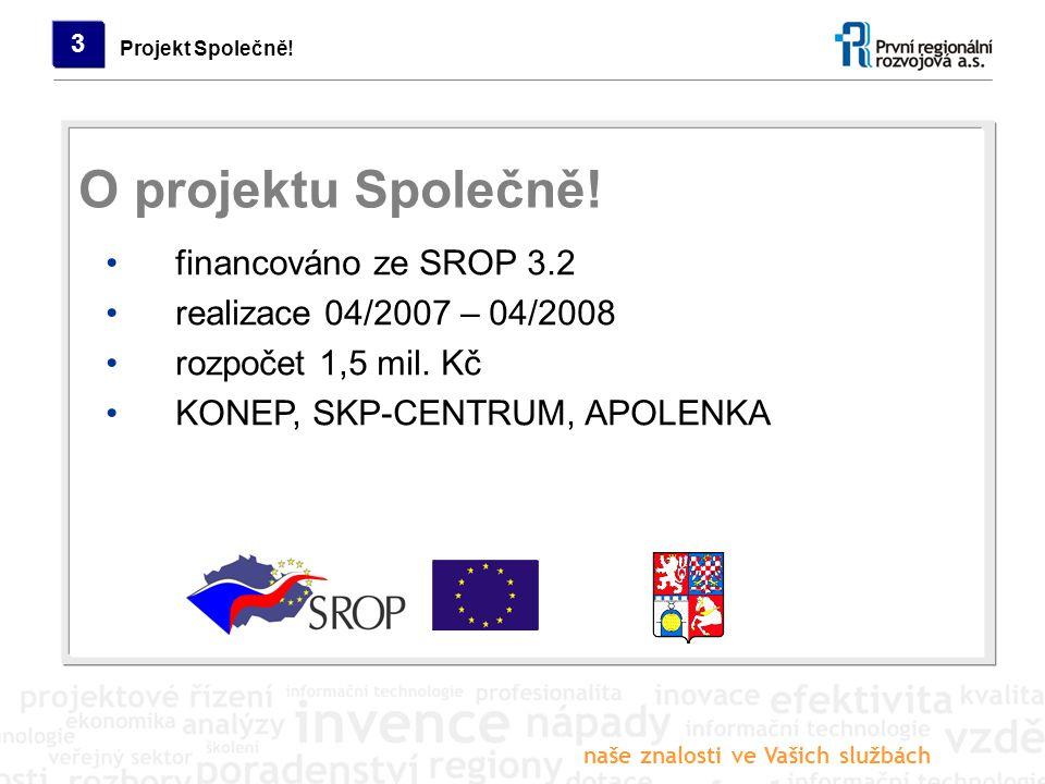naše znalosti ve Vašich službách Projekt Společně! 3 financováno ze SROP 3.2 realizace 04/2007 – 04/2008 rozpočet 1,5 mil. Kč KONEP, SKP-CENTRUM, APOL