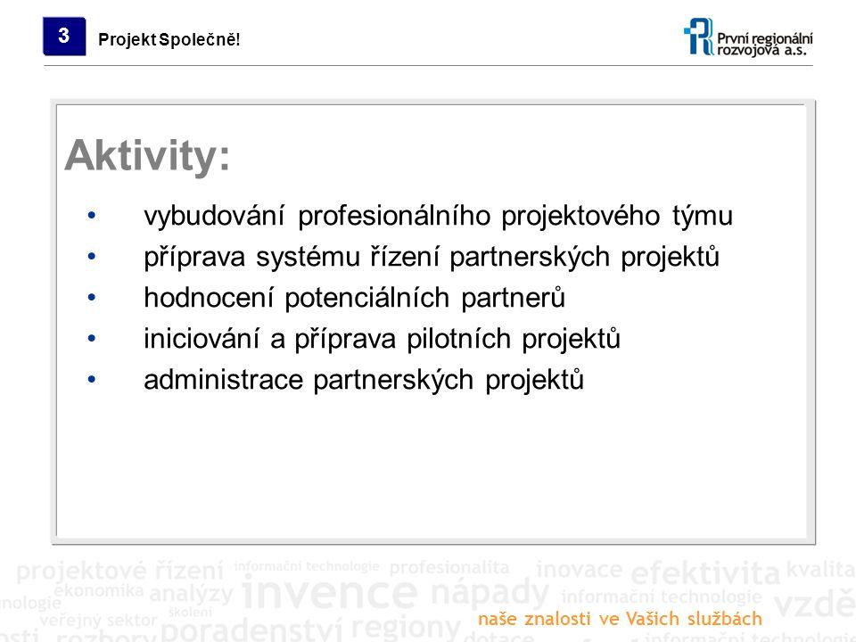 naše znalosti ve Vašich službách Projekt Společně! 3 vybudování profesionálního projektového týmu příprava systému řízení partnerských projektů hodnoc