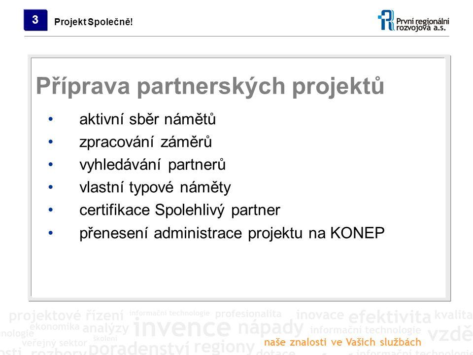 naše znalosti ve Vašich službách Projekt Společně! 3 aktivní sběr námětů zpracování záměrů vyhledávání partnerů vlastní typové náměty certifikace Spol