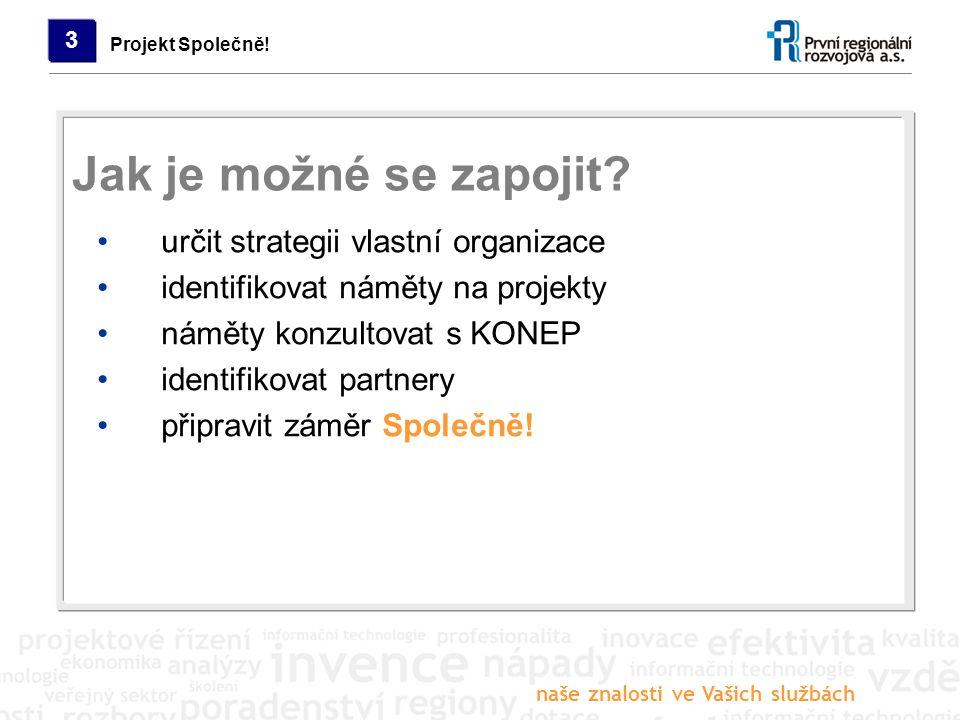 naše znalosti ve Vašich službách Projekt Společně! 3 určit strategii vlastní organizace identifikovat náměty na projekty náměty konzultovat s KONEP id