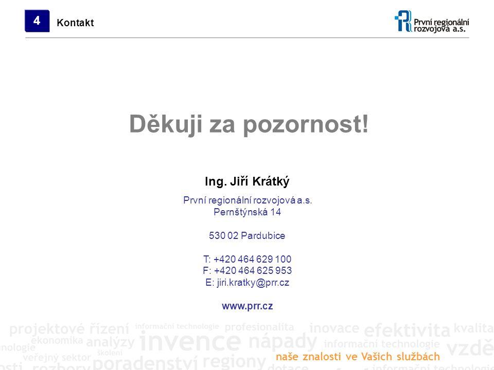 naše znalosti ve Vašich službách První regionální rozvojová a.s. Pernštýnská 14 530 02 Pardubice T: +420 464 629 100 F: +420 464 625 953 E: jiri.kratk