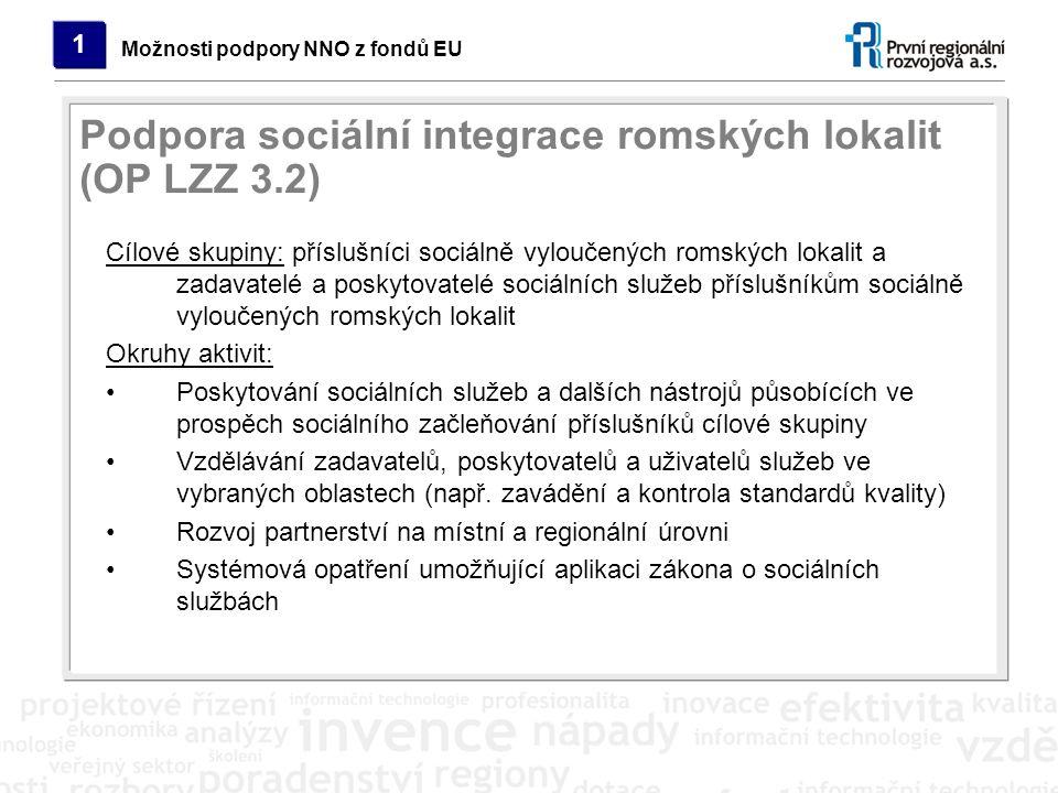 Cílové skupiny: příslušníci sociálně vyloučených romských lokalit a zadavatelé a poskytovatelé sociálních služeb příslušníkům sociálně vyloučených rom