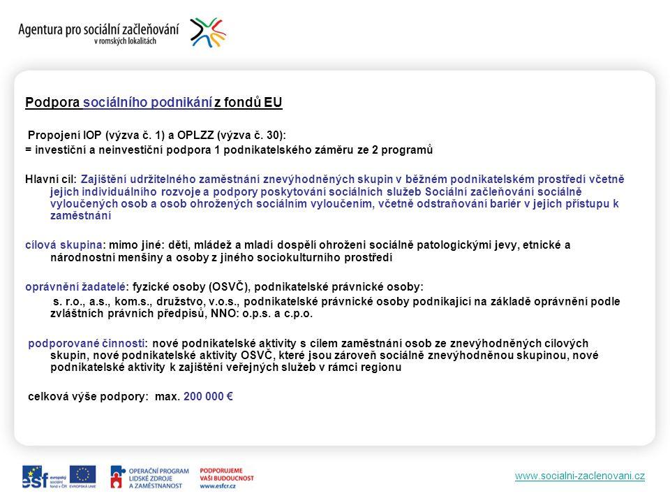 www.socialni-zaclenovani.cz Podpora sociálního podnikání z fondů EU Propojení IOP (výzva č.