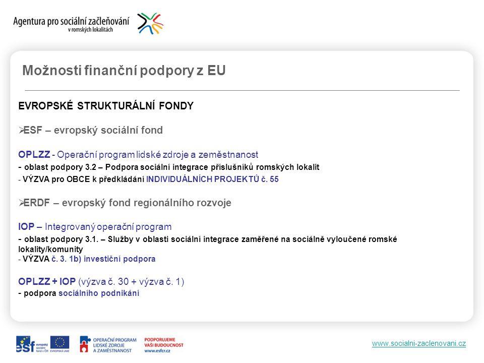 www.socialni-zaclenovani.cz Možnosti finanční podpory z EU EVROPSKÉ STRUKTURÁLNÍ FONDY  ESF – evropský sociální fond OPLZZ - Operační program lidské zdroje a zeměstnanost - oblast podpory 3.2 – Podpora sociální integrace příslušníků romských lokalit - VÝZVA pro OBCE k předkládání INDIVIDUÁLNÍCH PROJEKTŮ č.