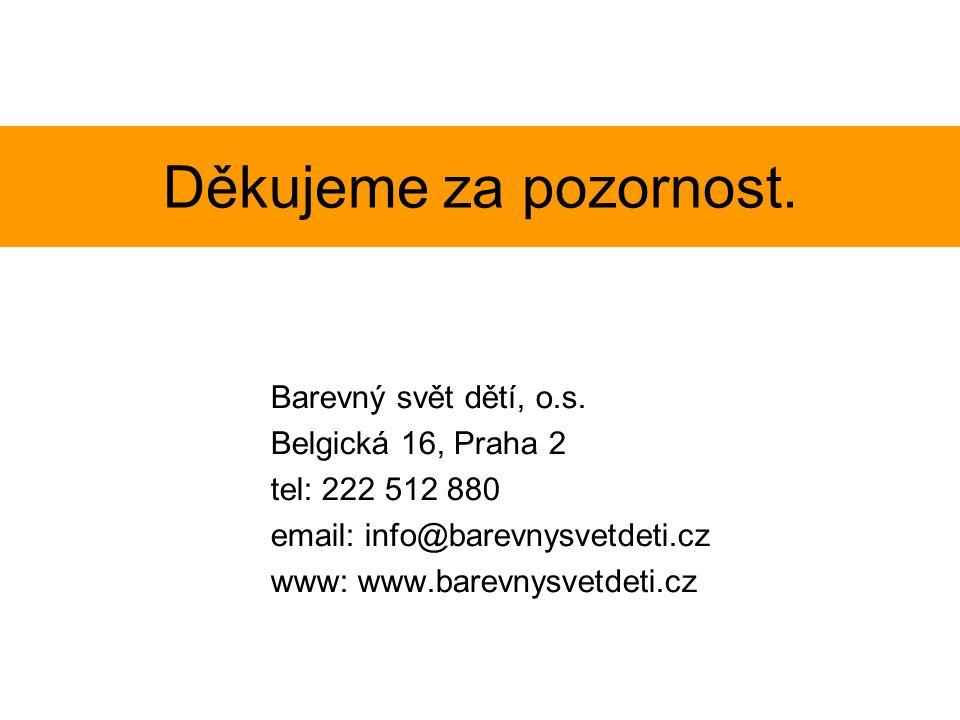 Děkujeme za pozornost. Barevný svět dětí, o.s. Belgická 16, Praha 2 tel: 222 512 880 email: info@barevnysvetdeti.cz www: www.barevnysvetdeti.cz