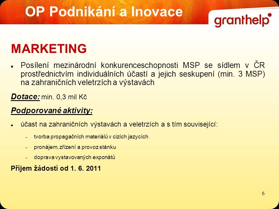 OP Podnikání a Inovace MARKETING Posílení mezinárodní konkurenceschopnosti MSP se sídlem v ČR prostřednictvím individuálních účastí a jejich seskupení