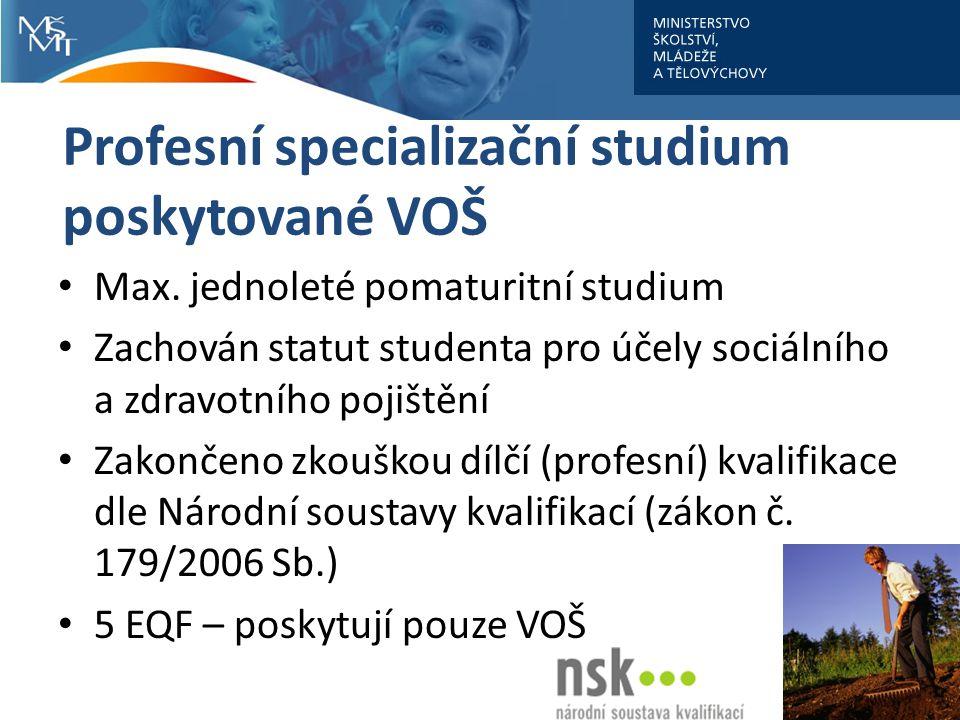 Profesní specializační studium poskytované VOŠ Max.