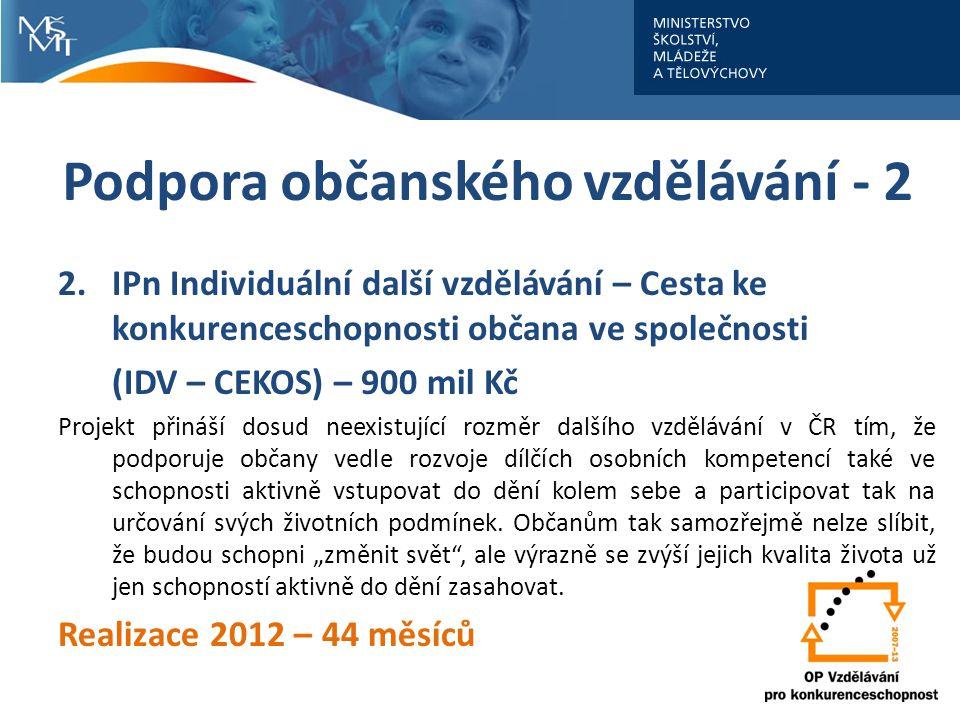 Podpora občanského vzdělávání - 2 2.IPn Individuální další vzdělávání – Cesta ke konkurenceschopnosti občana ve společnosti (IDV – CEKOS) – 900 mil Kč