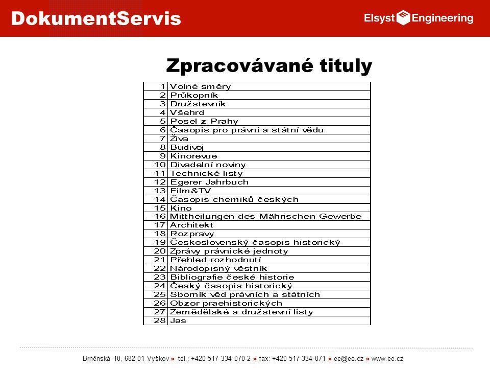 DokumentServis Brněnská 10, 682 01 Vyškov » tel.: +420 517 334 070-2 » fax: +420 517 334 071 » ee@ee.cz » www.ee.cz Zpracovávané tituly
