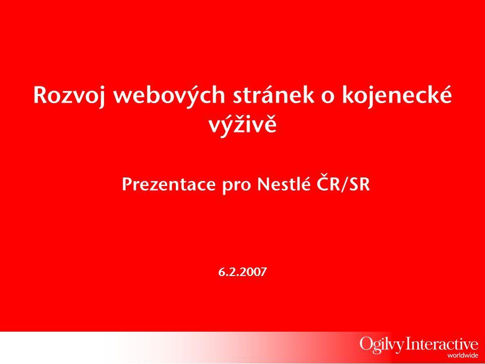 Rozvoj webových stránek o kojenecké výživě Prezentace pro Nestlé ČR/SR 6.2.2007