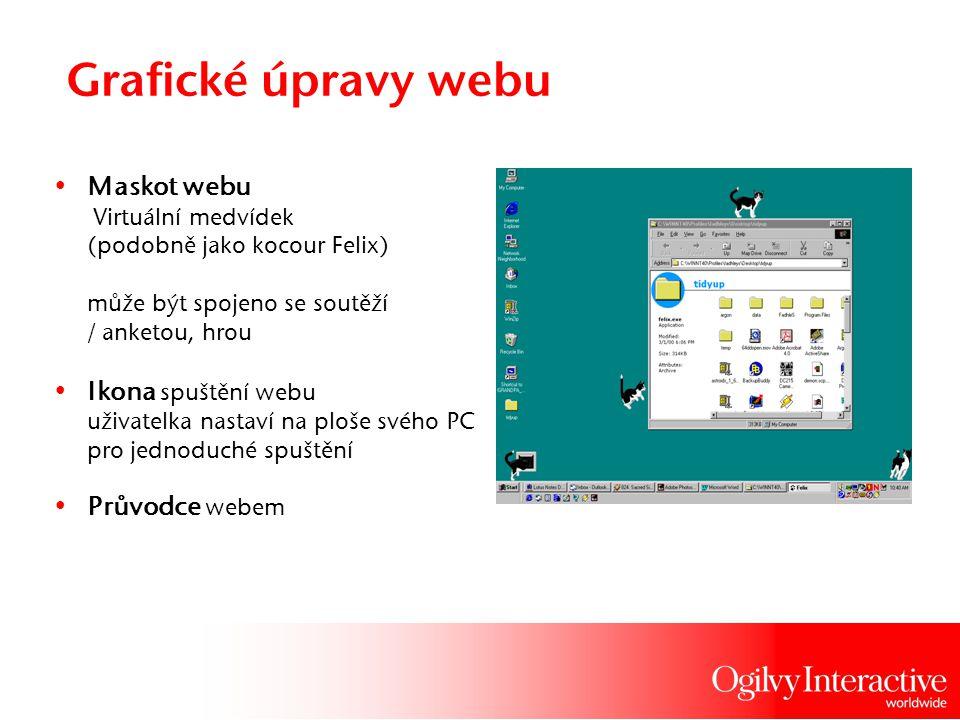 Grafické úpravy webu Maskot webu Virtuální medvídek (podobně jako kocour Felix) může být spojeno se soutěží / anketou, hrou Ikona spuštění webu uživat