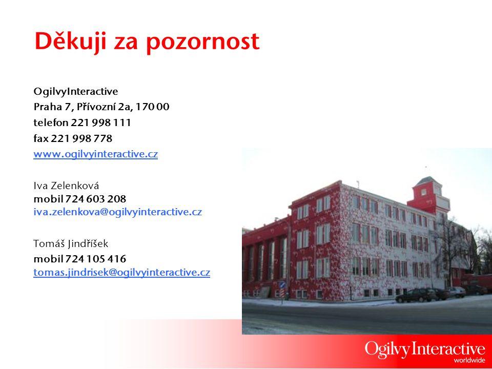 Děkuji za pozornost OgilvyInteractive Praha 7, Přívozní 2a, 170 00 telefon 221 998 111 fax 221 998 778 www.ogilvyinteractive.cz Iva Zelenková mobil 72