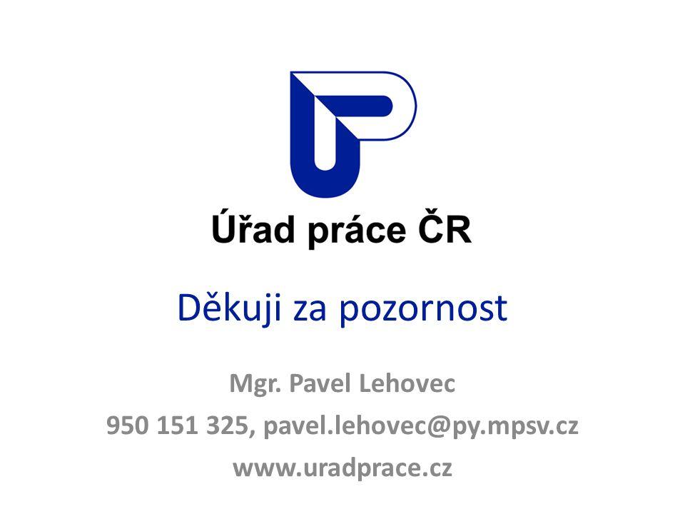 Děkuji za pozornost Mgr. Pavel Lehovec 950 151 325, pavel.lehovec@py.mpsv.cz www.uradprace.cz