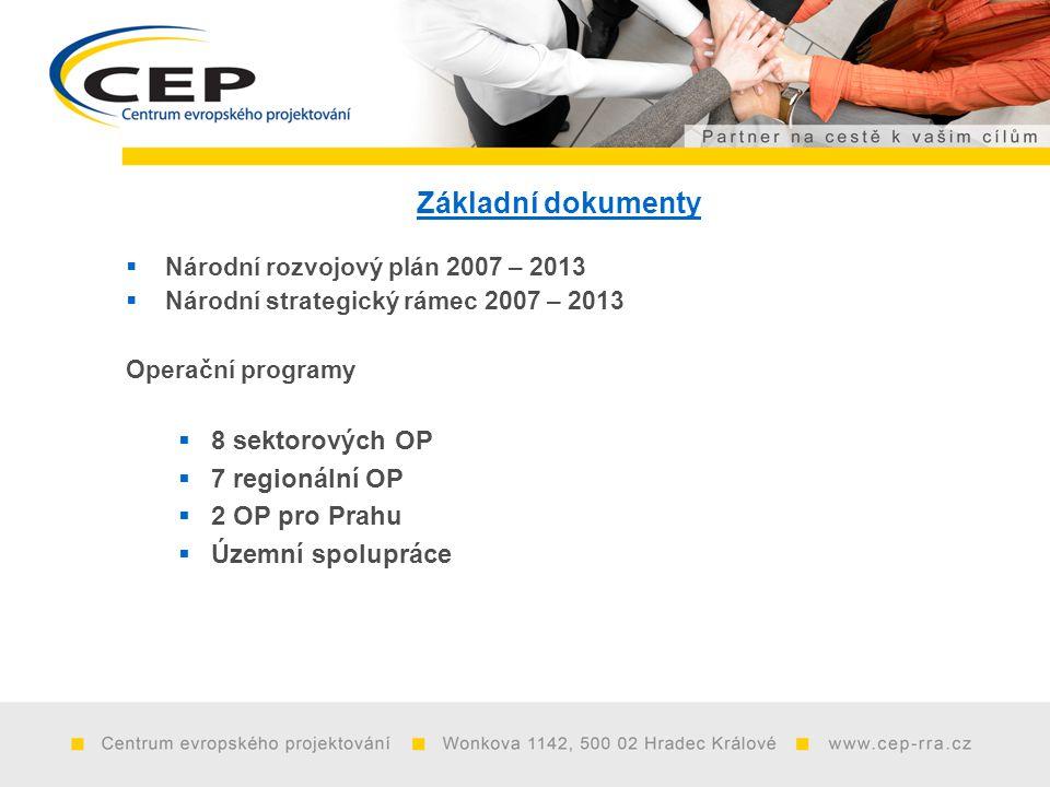 Základní dokumenty  Národní rozvojový plán 2007 – 2013  Národní strategický rámec 2007 – 2013 Operační programy  8 sektorových OP  7 regionální OP  2 OP pro Prahu  Územní spolupráce