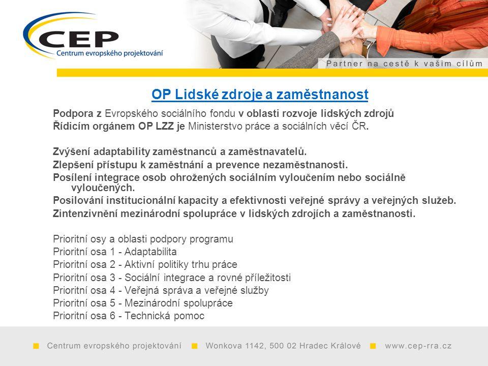 OP Lidské zdroje a zaměstnanost Podpora z Evropského sociálního fondu v oblasti rozvoje lidských zdrojů Řídicím orgánem OP LZZ je Ministerstvo práce a sociálních věcí ČR.