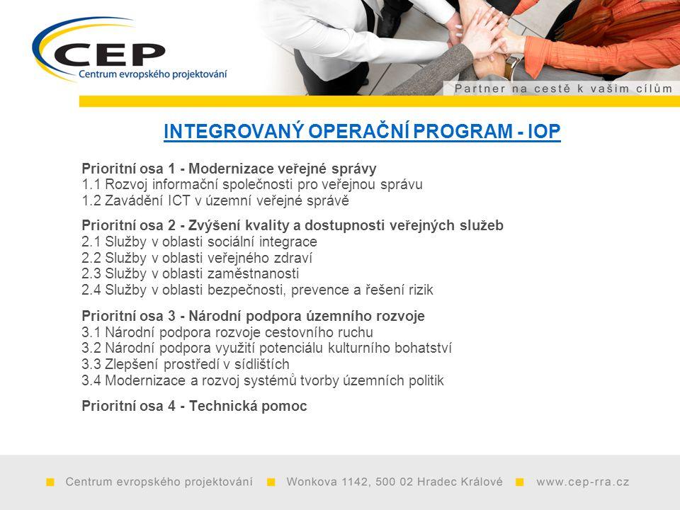 INTEGROVANÝ OPERAČNÍ PROGRAM - IOP Prioritní osa 1 - Modernizace veřejné správy 1.1 Rozvoj informační společnosti pro veřejnou správu 1.2 Zavádění ICT v územní veřejné správě Prioritní osa 2 - Zvýšení kvality a dostupnosti veřejných služeb 2.1 Služby v oblasti sociální integrace 2.2 Služby v oblasti veřejného zdraví 2.3 Služby v oblasti zaměstnanosti 2.4 Služby v oblasti bezpečnosti, prevence a řešení rizik Prioritní osa 3 - Národní podpora územního rozvoje 3.1 Národní podpora rozvoje cestovního ruchu 3.2 Národní podpora využití potenciálu kulturního bohatství 3.3 Zlepšení prostředí v sídlištích 3.4 Modernizace a rozvoj systémů tvorby územních politik Prioritní osa 4 - Technická pomoc