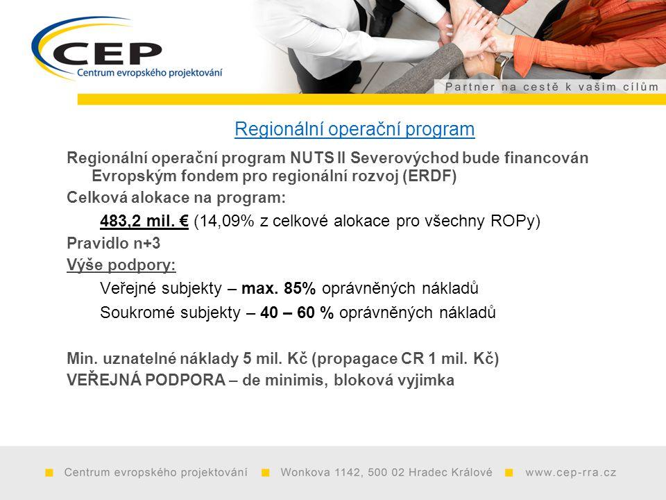 Regionální operační program Regionální operační program NUTS II Severovýchod bude financován Evropským fondem pro regionální rozvoj (ERDF) Celková alokace na program: 483,2 mil.
