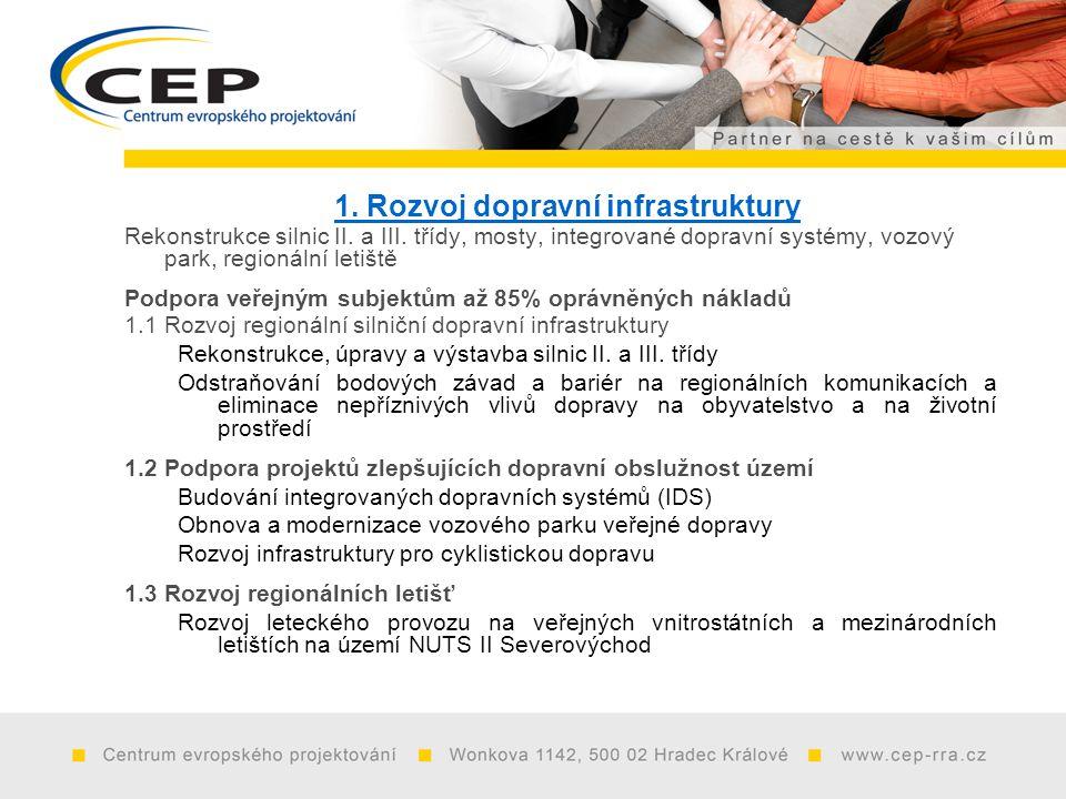 1. Rozvoj dopravní infrastruktury Rekonstrukce silnic II.