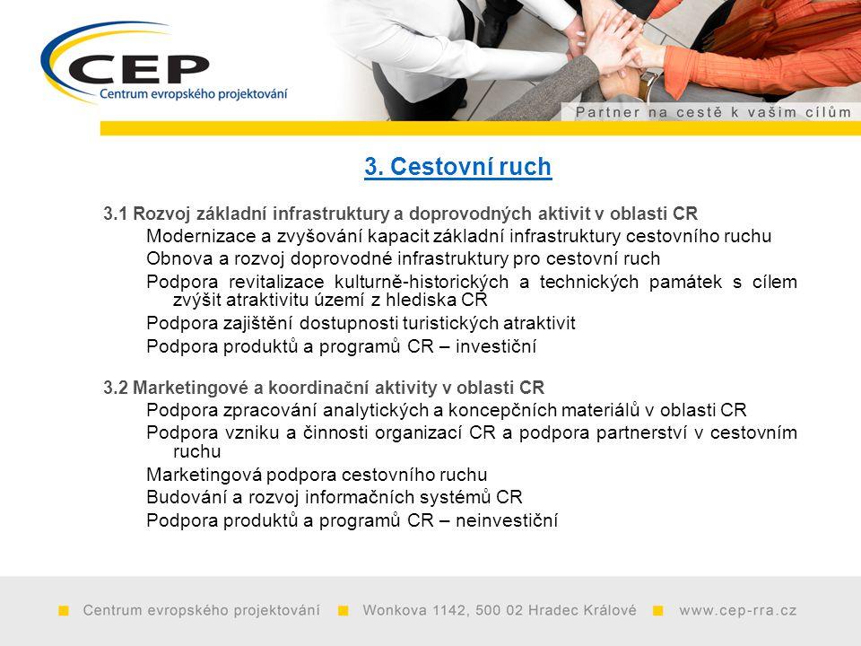 3. Cestovní ruch 3.1 Rozvoj základní infrastruktury a doprovodných aktivit v oblasti CR Modernizace a zvyšování kapacit základní infrastruktury cestov