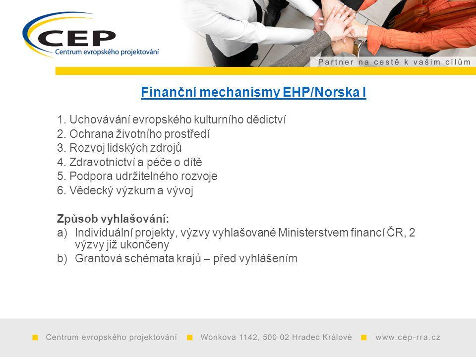 Finanční mechanismy EHP/Norska I 1. Uchovávání evropského kulturního dědictví 2.