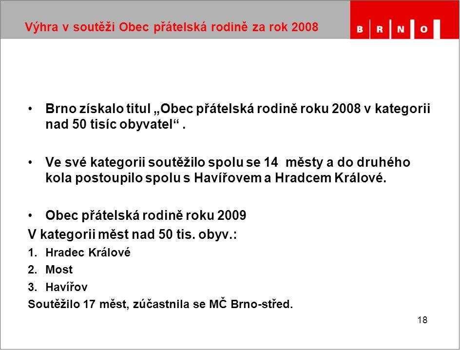 """18 Výhra v soutěži Obec přátelská rodině za rok 2008 Brno získalo titul """"Obec přátelská rodině roku 2008 v kategorii nad 50 tisíc obyvatel ."""
