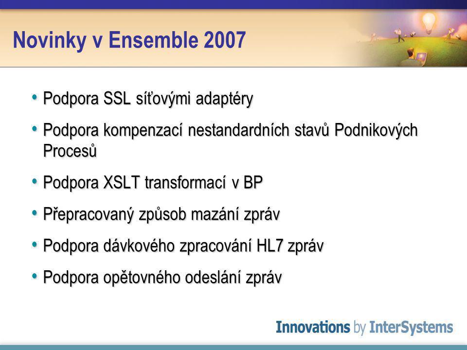 Novinky v Ensemble 2007 Podpora SSL síťovými adaptéry Podpora SSL síťovými adaptéry Podpora kompenzací nestandardních stavů Podnikových Procesů Podpora kompenzací nestandardních stavů Podnikových Procesů Podpora XSLT transformací v BP Podpora XSLT transformací v BP Přepracovaný způsob mazání zpráv Přepracovaný způsob mazání zpráv Podpora dávkového zpracování HL7 zpráv Podpora dávkového zpracování HL7 zpráv Podpora opětovného odeslání zpráv Podpora opětovného odeslání zpráv