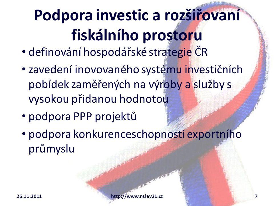 Podpora investic a rozšiřovaní fiskálního prostoru definování hospodářské strategie ČR zavedení inovovaného systému investičních pobídek zaměřených na