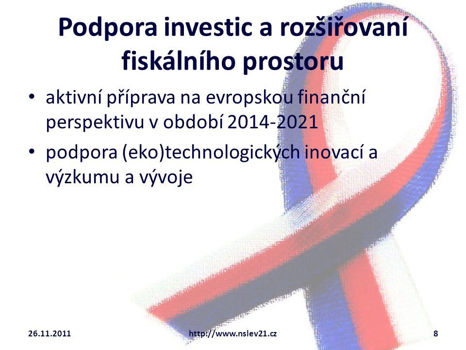 Podpora investic a rozšiřovaní fiskálního prostoru aktivní příprava na evropskou finanční perspektivu v období 2014-2021 podpora (eko)technologických