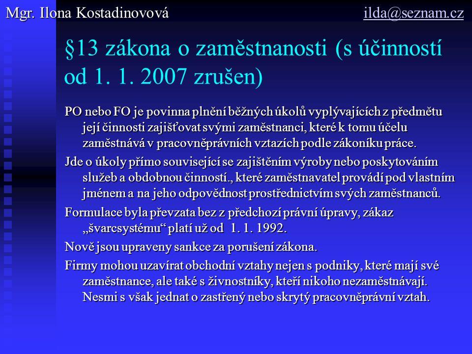 §13 zákona o zaměstnanosti (s účinností od 1.1.