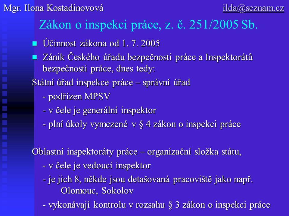 Zákon o inspekci práce, z.č. 251/2005 Sb. Účinnost zákona od 1.