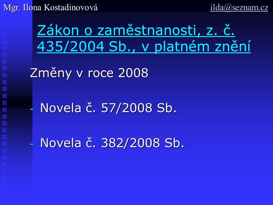 Zákon o zaměstnanosti, z. č. 435/2004 Sb., v platném znění Změny v roce 2008 - Novela č.