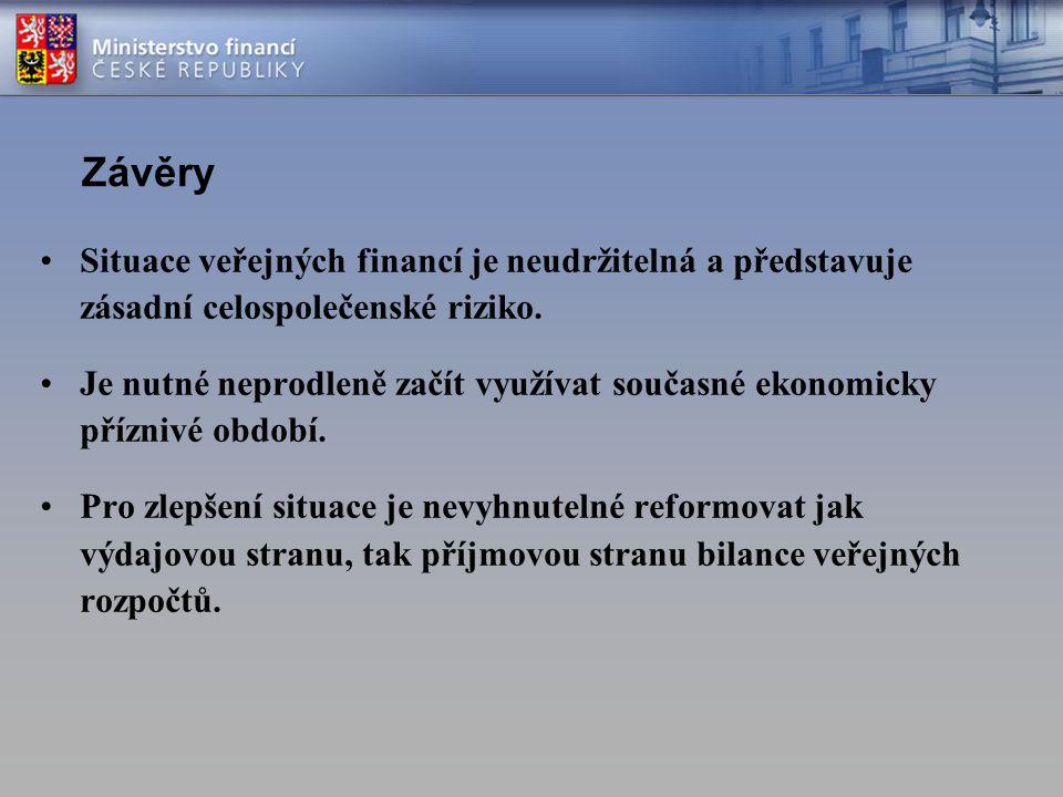 Závěry Situace veřejných financí je neudržitelná a představuje zásadní celospolečenské riziko. Je nutné neprodleně začít využívat současné ekonomicky