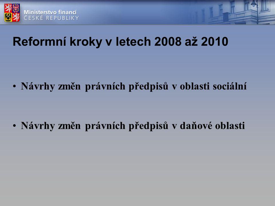 Návrhy změn právních předpisů v oblasti sociální Návrhy změn právních předpisů v daňové oblasti Reformní kroky v letech 2008 až 2010