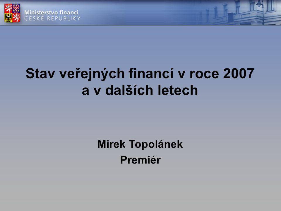 Stav veřejných financí v roce 2007 a v dalších letech Mirek Topolánek Premiér