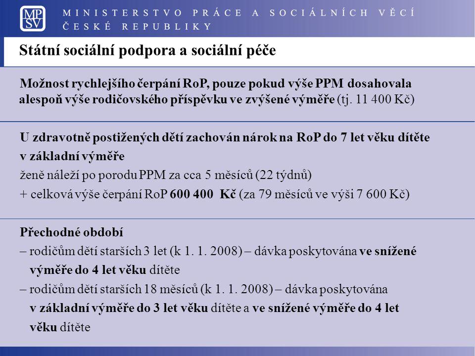 Možnost rychlejšího čerpání RoP, pouze pokud výše PPM dosahovala alespoň výše rodičovského příspěvku ve zvýšené výměře (tj. 11 400 Kč) U zdravotně pos