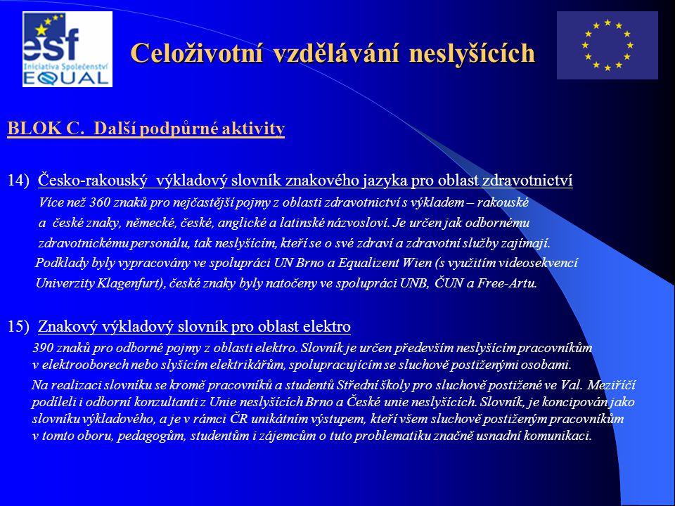 Celoživotní vzdělávání neslyšících BLOK C. Další podpůrné aktivity 14) Česko-rakouský výkladový slovník znakového jazyka pro oblast zdravotnictví Více