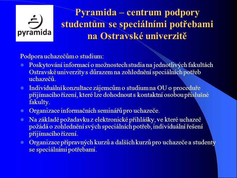 Pyramida – centrum podpory studentům se speciálními potřebami na Ostravské univerzitě Podpora uchazečům o studium: Poskytování informací o možnostech