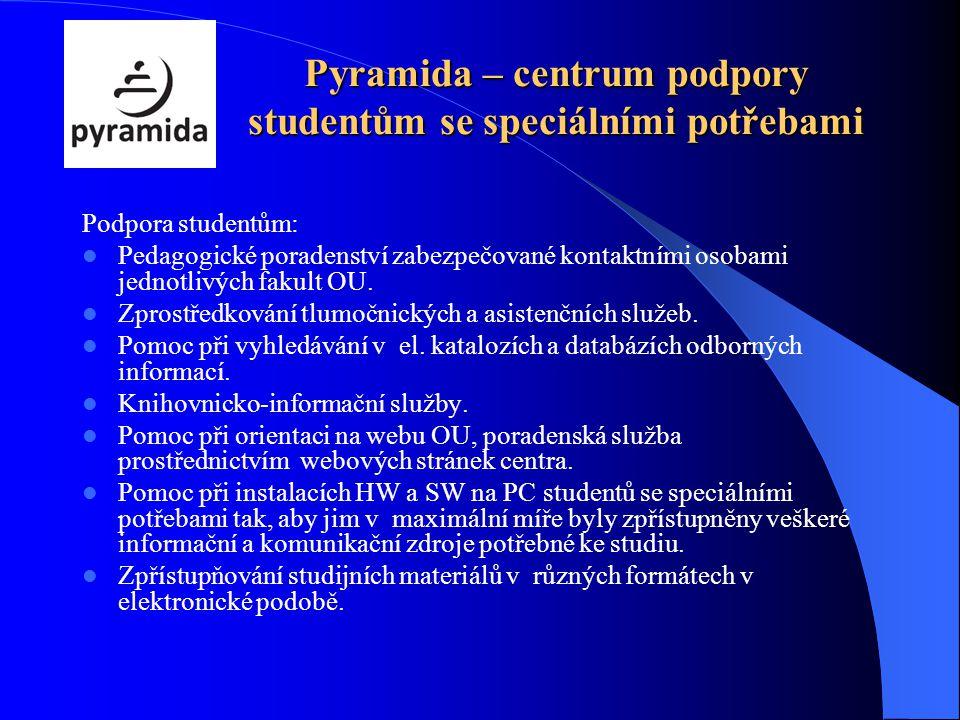 Pyramida – centrum podpory studentům se speciálními potřebami Podpora studentům: Pedagogické poradenství zabezpečované kontaktními osobami jednotlivých fakult OU.