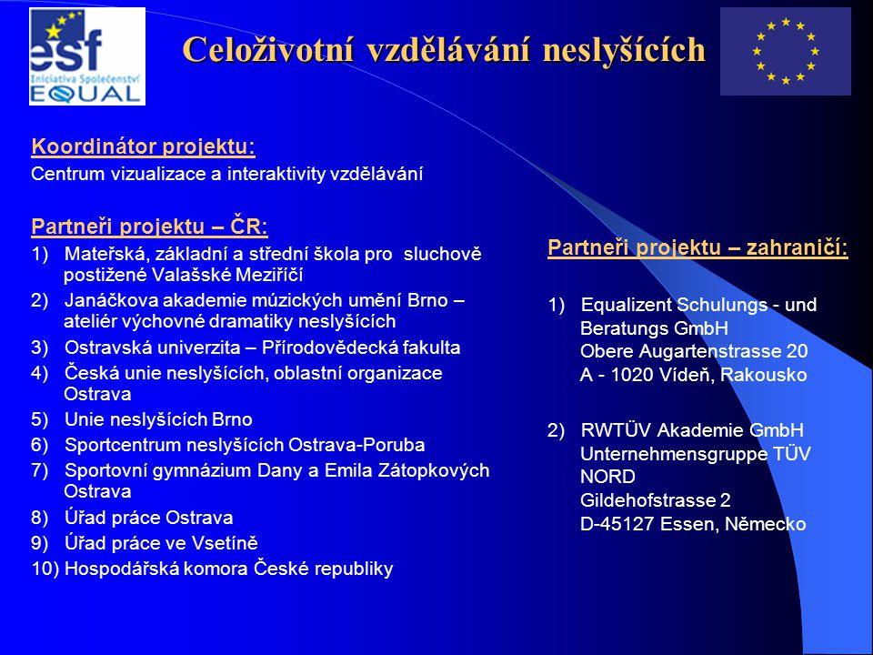 Celoživotní vzdělávání neslyšících Koordinátor projektu: Centrum vizualizace a interaktivity vzdělávání Partneři projektu – ČR: 1) Mateřská, základní