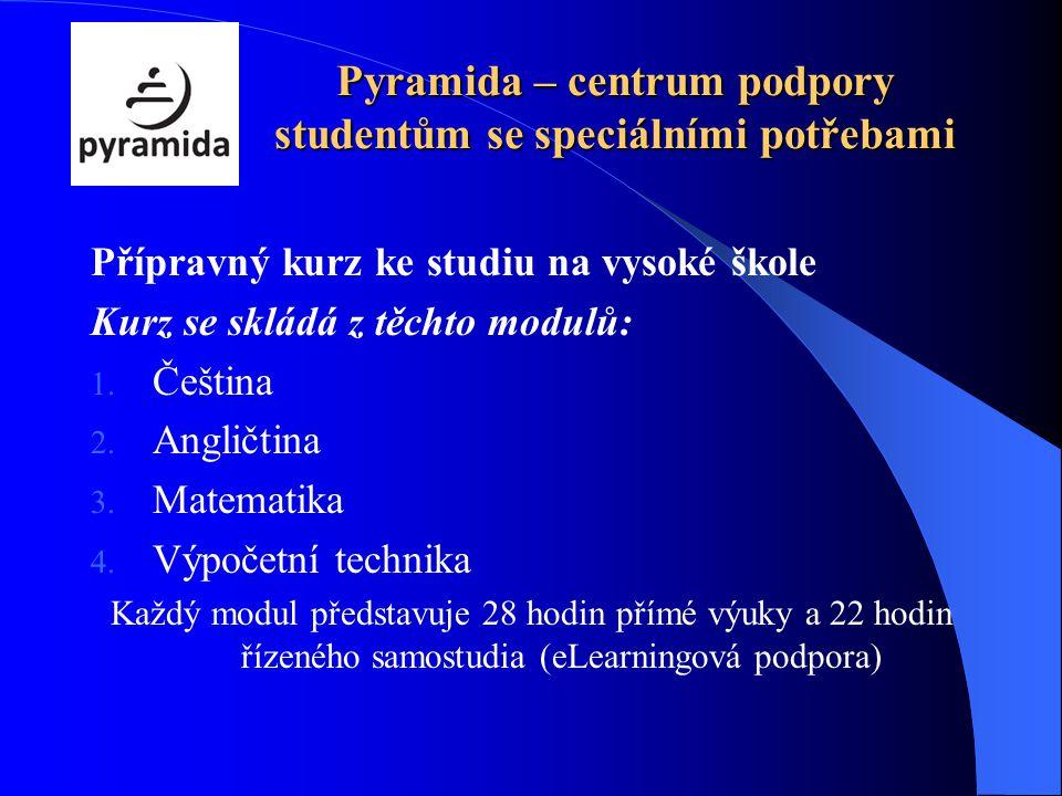 Pyramida – centrum podpory studentům se speciálními potřebami Přípravný kurz ke studiu na vysoké škole Kurz se skládá z těchto modulů: 1. Čeština 2. A