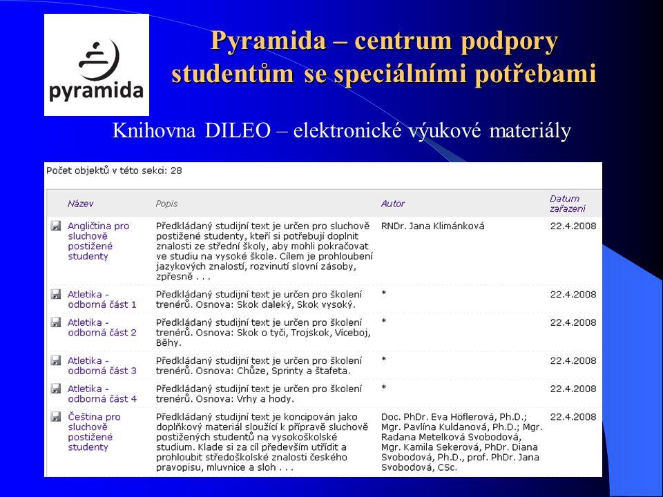 Pyramida – centrum podpory studentům se speciálními potřebami Knihovna DILEO – elektronické výukové materiály