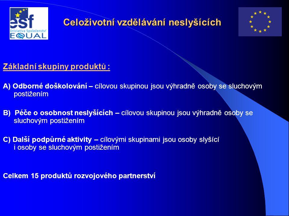 Celoživotní vzdělávání neslyšících Základní skupiny produktů : A) Odborné doškolování – cílovou skupinou jsou výhradně osoby se sluchovým postižením B) Péče o osobnost neslyšících – cílovou skupinou jsou výhradně osoby se sluchovým postižením C) Další podpůrné aktivity – cílovými skupinami jsou osoby slyšící i osoby se sluchovým postižením Celkem 15 produktů rozvojového partnerství